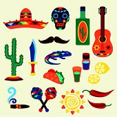 stock photo of sombrero  - Collection of mexican icons in native style - JPG