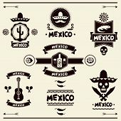 stock photo of sombrero  - Mexican set of labels and stickers with icons - JPG