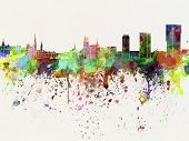 stock photo of zurich  - Zurich skyline in artistic abstract watercolor background - JPG