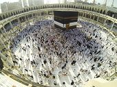 stock photo of kaaba  - Muslim people praying at Kaaba in Mecca - JPG
