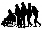Silhouettes wheelchair and crowds people