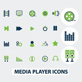 media, music player icons, set