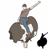 image of bull riding  - An image of a man riding a mechanical bull - JPG