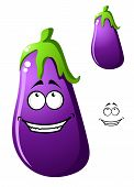 picture of brinjal  - Colorful purple cartoon eggplant vegetable or brinjal with a big happy smile and fresh green stalk - JPG