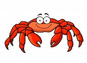 stock photo of claw  - Cartoon red marine crab with big pincer claws and a happy smile - JPG
