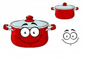 foto of saucepan  - Little red cartoon cooking saucepan or pot with a lid and a happy smile - JPG