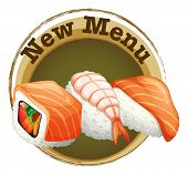 Illustration of a new menu label with sushi on a white background