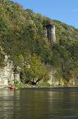 stock photo of chimney rock  - Kayaking near chimney rock on upper Iowa river - JPG