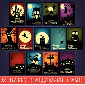 foto of happy halloween  - The creative design of 13 Happy Halloween Cards - JPG