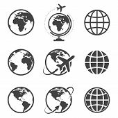 image of transportation icons  - Earth vector icons set on white background - JPG