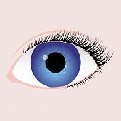 stock photo of heartfelt  - realistic eye with blue iris black algae and reflection on pupil - JPG