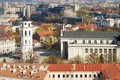 foto of pubic  - Cathedral pubic domain square area in the center of the old European Vilnius city in Lithuania - JPG