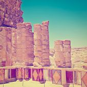 stock photo of masada  - Ruins of the Fortress Masada Photo Filter - JPG
