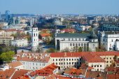 stock photo of pubic  - Cathedral pubic domain square area in the center of the old European Vilnius city in Lithuania - JPG