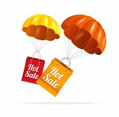 pic of parachute  - Vector sale labels with parachute - JPG