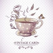 pic of dinner invitation  - Invitation Vintage Card with a Cup of Tea or Coffee - JPG