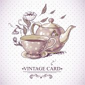 stock photo of dinner invitation  - Invitation Vintage Card with a Cup of Tea or Coffee - JPG