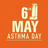 foto of asthma inhaler  - World Asthma Day background with stylish text 6th May and Inhaler on orange background - JPG