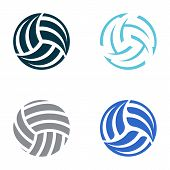 stock photo of leather tool  - Set of four vector volleyball ball abstract icons - JPG