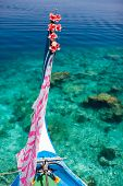 stock photo of dhoni  - Close up of a traditional maldivian boat dhoni in a tropical ocean - JPG