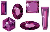 stock photo of marquise  - Vector illustration of different cut amethysts isolated on white - JPG