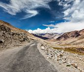 Scenic road in Himalayas near Khardung-La pass. Ladakh, India