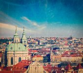 Vintage retro hipster style travel image of aerial view of Prague from Prague Castle. Prague, Czech