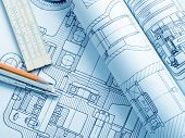 stock photo of mechanical drawing  - industrial drawing detail and several drawing tools  - JPG