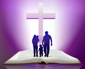 pic of holy-spirit  - Illustration of open bible with family walking towards cross - JPG