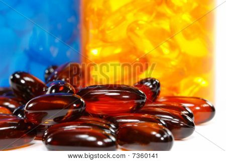 Shallow View Of Flaxseed Oil Pills