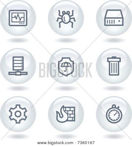 Internet segurança web ícones, branco círculo botões