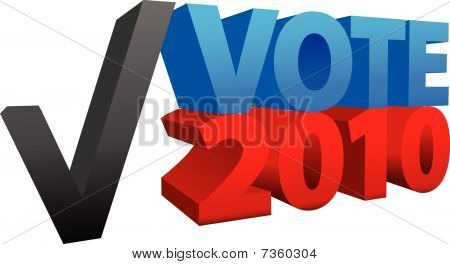 Vote In 2010 Red Blue Election Check Mark 3D