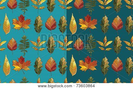 Vector Seamless Pattern With Autumn Set Leaves.