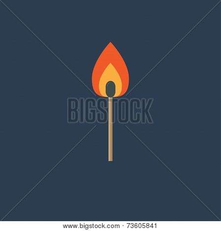 Burning Match With Orange Fire Light. Flat Design Style.