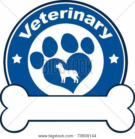 Veterinary Blue Circle Label With Love Paw Dog And Bone Under Text