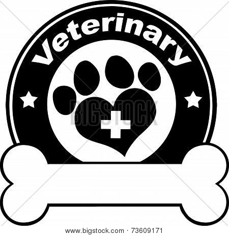 Veterinary Black Circle Label Design With Love Paw Print,Cross And Bone Under Text