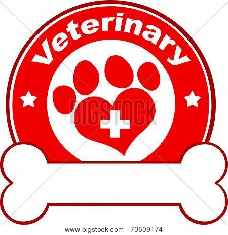 Veterinary Red Circle Label Design With Love Paw Print,Cross And Bone Under Text