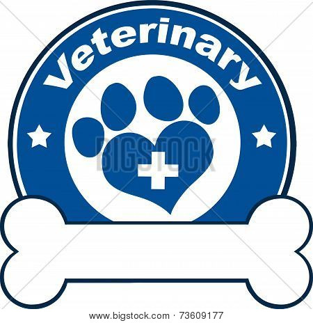 Veterinary Blue Circle Label With Love Paw Print,Cross And Bone Under Text