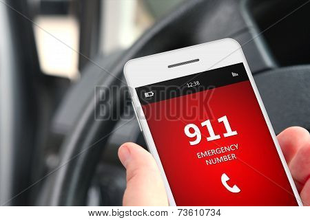 Hand Holding Cellphone With Emergency Number 911