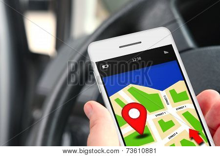 Hand Holding Mobile Phone With Gps Application