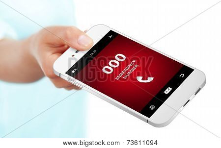 Hand Holding Mobile Phone With Emergency Number 000