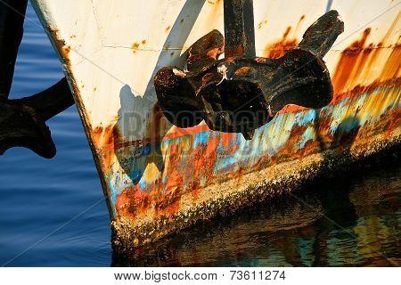 weatherbeaten metal boat