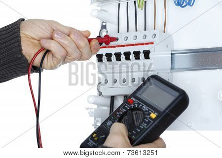Worker With Electrical Tester