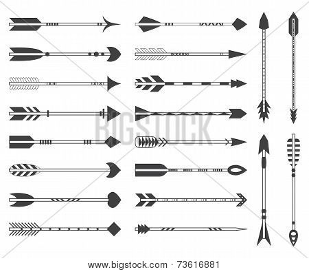 Set of twenty indian ethnic arrows. Gray hipster arrows