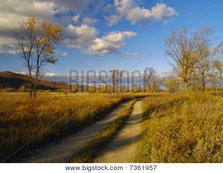 Autumn Landscape With Field Road And The Cloudy Sky