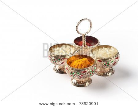 Kumkum container. Natural color powders are used while worshiping God and an at auspicious occasions.
