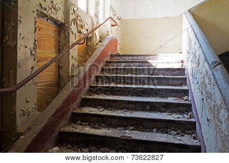 Old Staircase In Abandoned And Ruined House