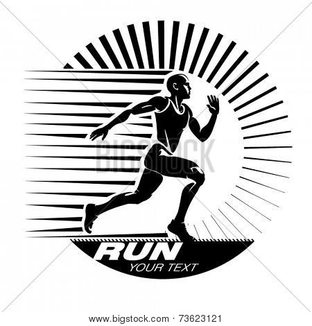 Running. Vector illustration in the engraving style