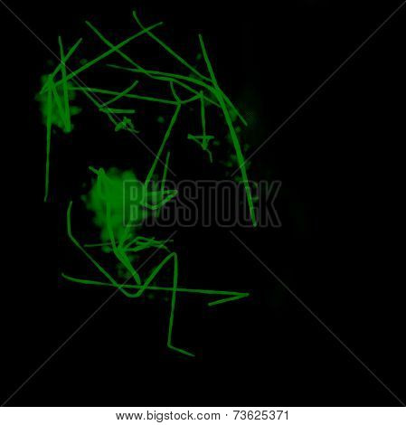 Utter Boredom.Abstract Portrait Of A Man  On Black Background
