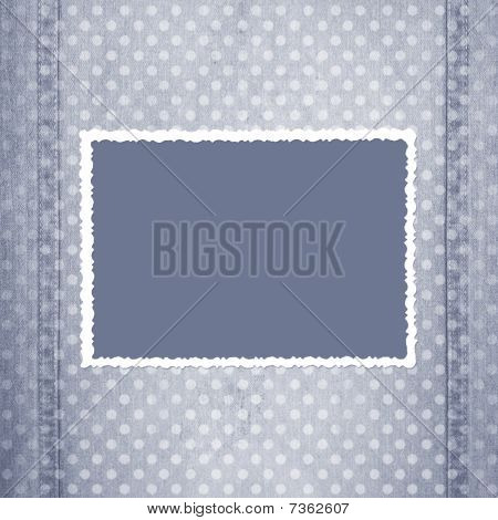 Abstract Grey Jeans Background With Fretted Frame